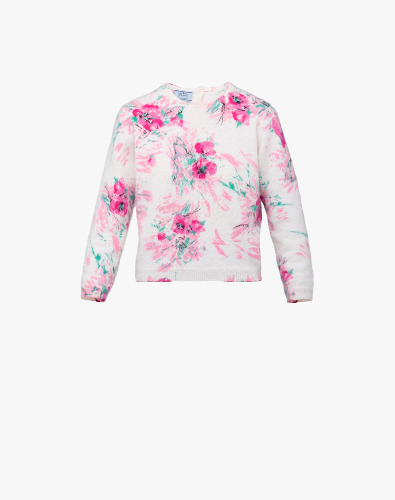Prada Floral Wool-Mohair Blend Sweater