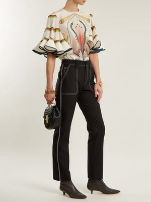 Chloé Contrasting Stitch-Detailed Trousers