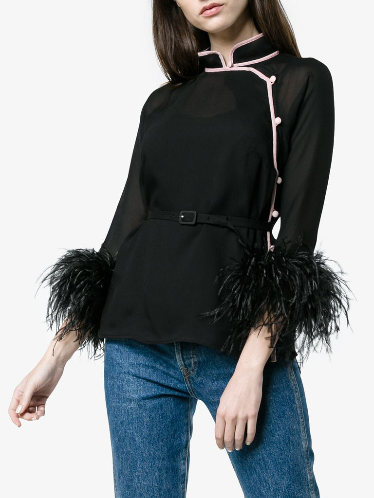 Prada Ostrich Feather Trimmed Silk Blouse