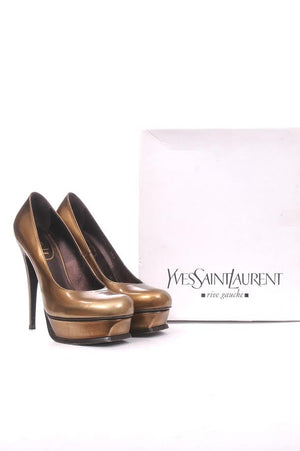 Yves Saint Laurent Metallic Leather Tribute Pumps, Heels, Saint Laurent, Closet Upgrade - Closet-Upgrade