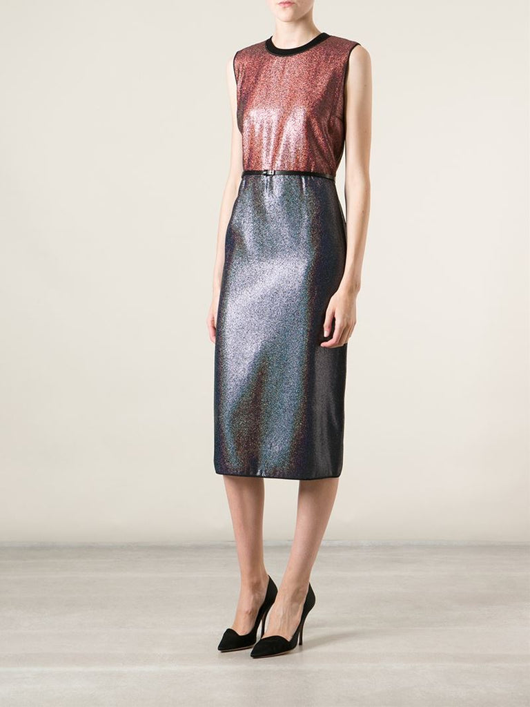 Victoria, Victoria Beckham Metallic Two-Tone Dress
