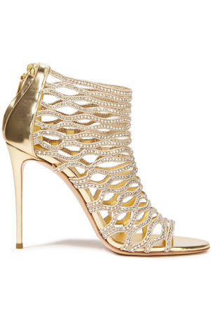 Casadei Crystal-Embellished Woven and Mirrored-Leather Sandals