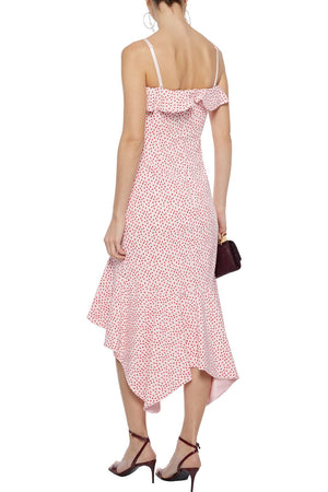 Jonathan Simkhai Asymmetric Ruffled Printed Stretch-Crepe Midi Dress
