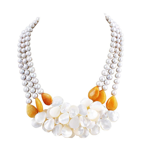 Layering Statement Shell Flower Petal Cluster Pearl Necklace