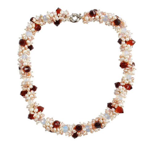 Ruby Pearl Cluster Statement Necklace