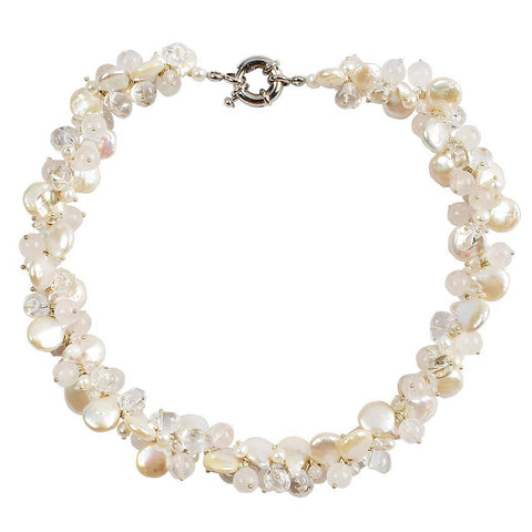 Pearl and Shell Charm Statement Necklace