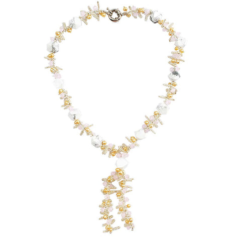 Gold Tone Pearl Fashion Y Necklace