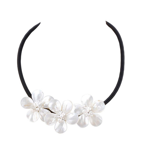 Shell Flower Leather Chain Pearl Necklace