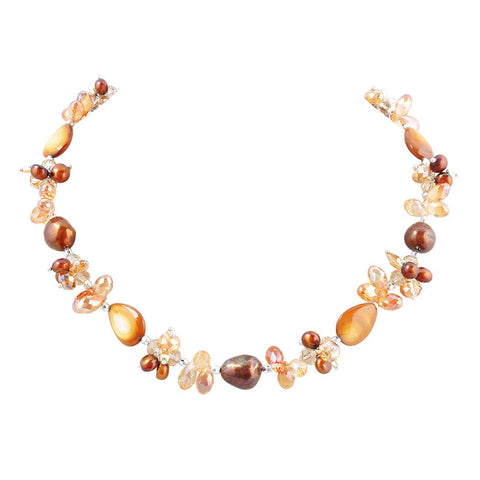Baroque Pearl Beaded Choker Necklace