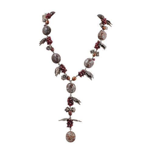 Natural Stone Pearl Beaded Y Necklace