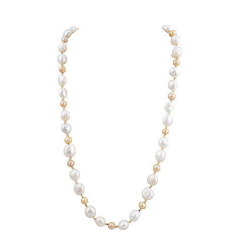 Baroque Luxury Pearl Beaded Long Necklace