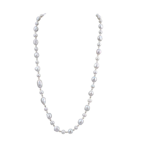 Baroque Pearl Beaded Long Necklace