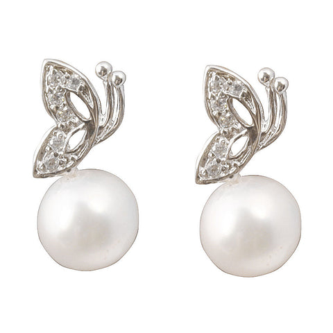 Silver Fly Together  Elegant Pearl Plus Drop Earrings