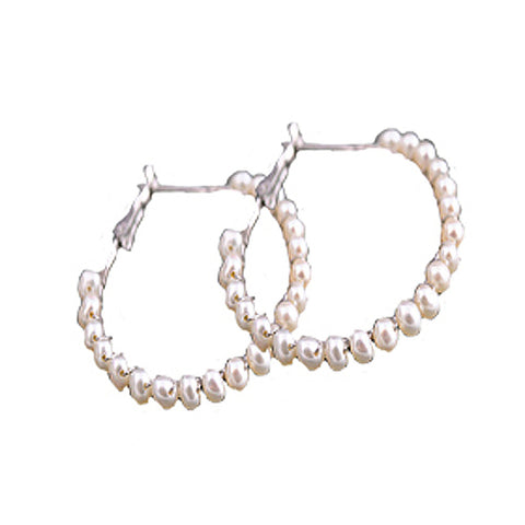 Fashion White  Millet  Ring Beaded  Pearl Drop Earrings