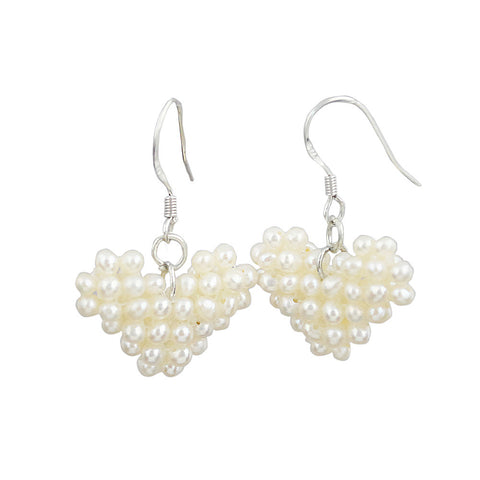 Fashion Heart-Shaped White Millet Ring Beaded Pearl Drop Earrings