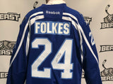 Brampton Beast ECHL Warm-Up Jersey #24 Mike Folkes (Game Worn + Signed)