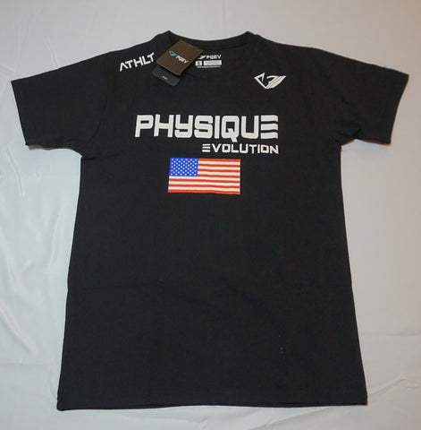 PQEV U.S. Athlt Shirt- Black - Physique Evolution - Fitness - Gymwear - livefit