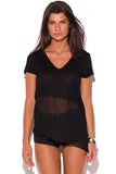 Abbi Black Chiffon Panel V Neck Tee Top