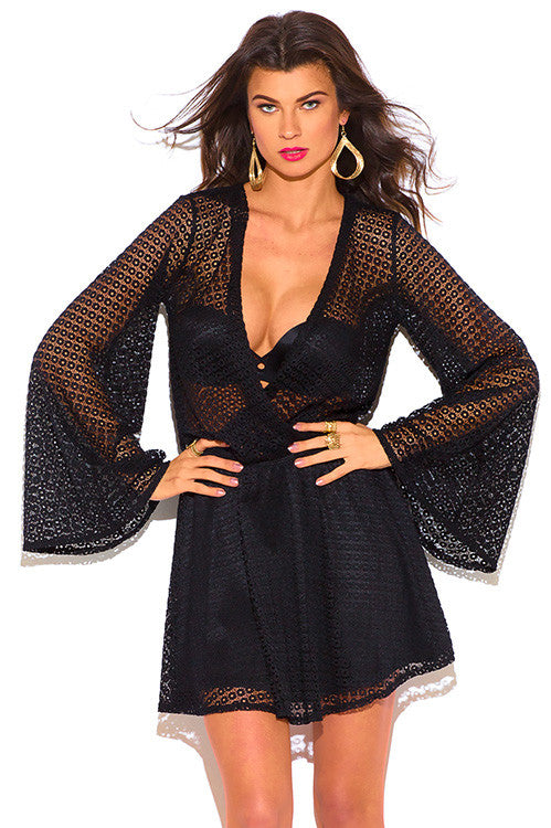 Yara Black Crochet Lace Long Sleeve Boho Beach Cover Up Midi Dress