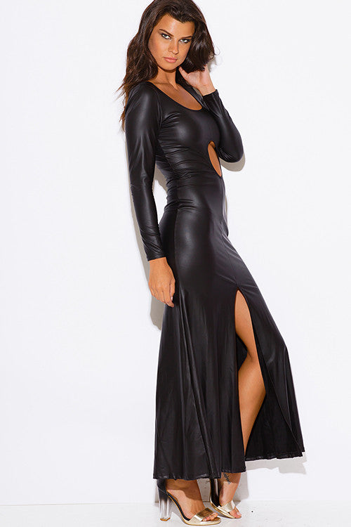 GiGi Black Faux Leather Long Sleeve Maxi
