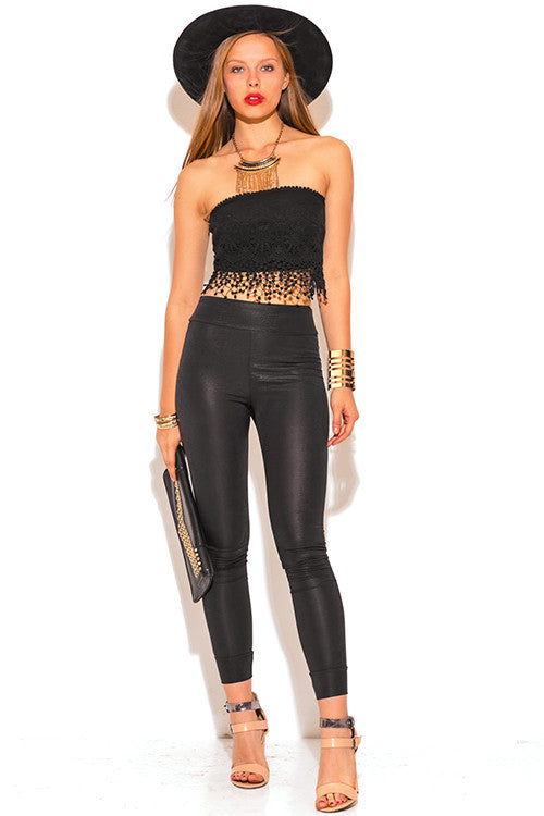 Lamis Black Snake Skin High Waisted Faux Leather Legging Pants