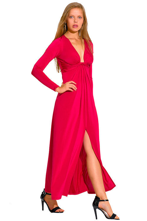 Jada Crimson Red Deep V Neck Long Sleeve Maxi Dress