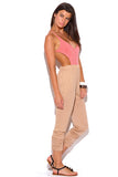 Amara Coral Red Stripe Criss Cross Backless Harem Pants Jumpsuit
