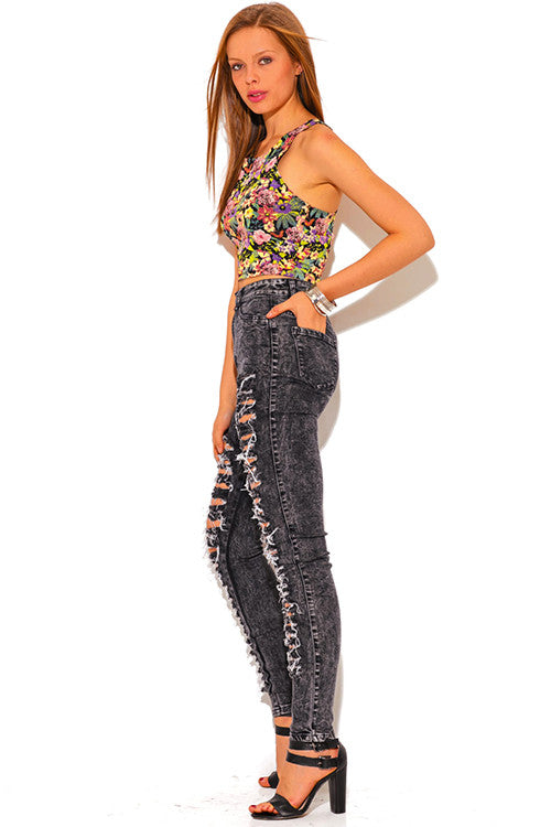 Varda High Waisted Dark Grey Ripped Distressed Skinny Jeans