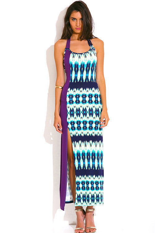 Saba Ethnic Print Purple Cut Out Backless Maxi Dress