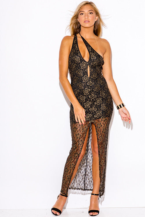 Leilah Gold Metallic With Black Lace Maxi Dress