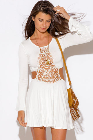 Afia White Long Sleeve V Neck Mini Dress
