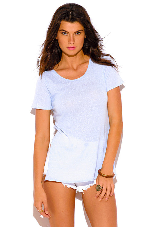 Claudette Blue Asymmetrical Backless Tee Top