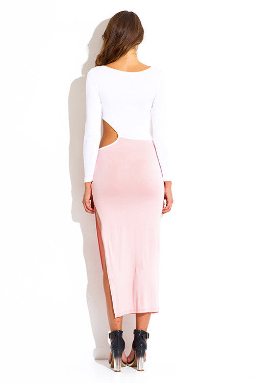 Mahvish Jersey Pink Block Cut Out Maxi Dress