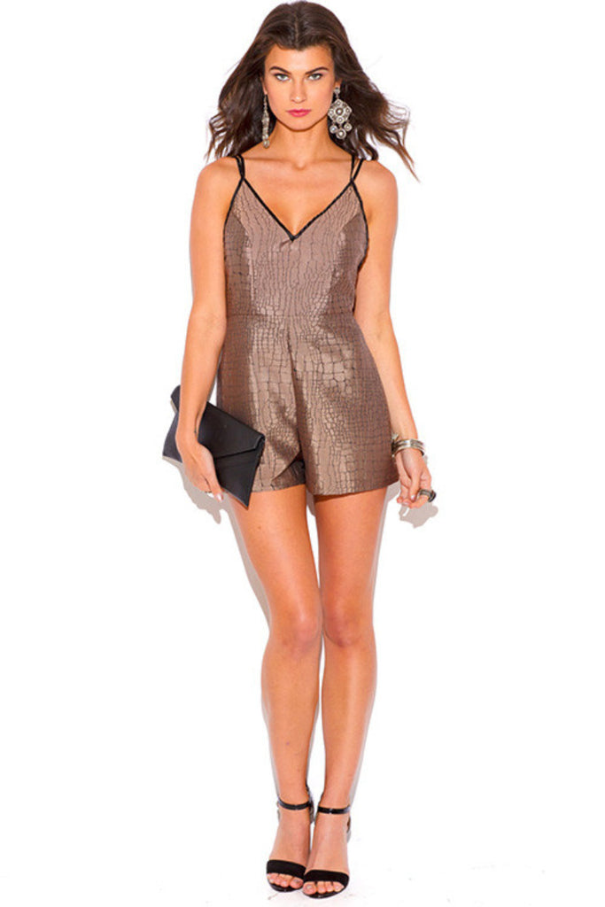 Amina Mocha Marble Animal Print Backless Romper Jumpsuit