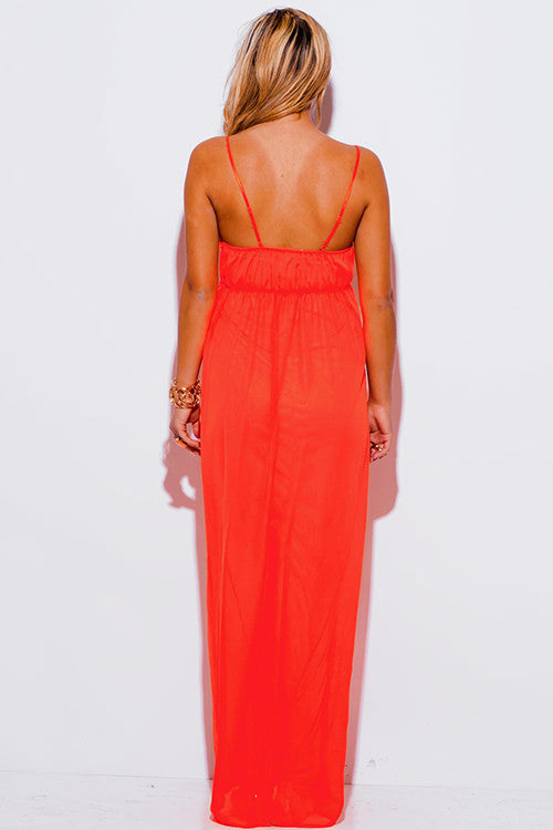 Ana Melon Orange Chiffon Baby Doll Maxi Dress