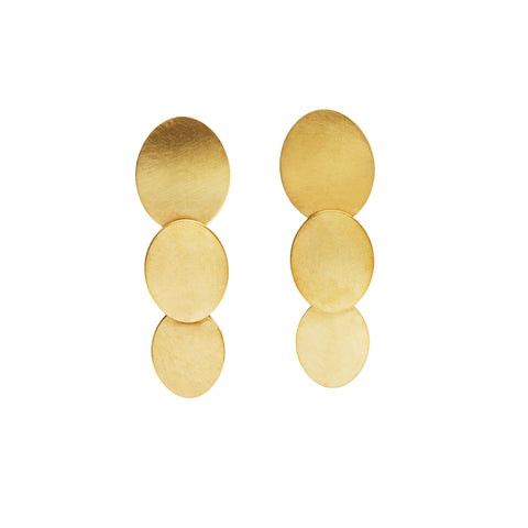 SIGNATURE ONE 2 Ovals Gold Plated Earrings