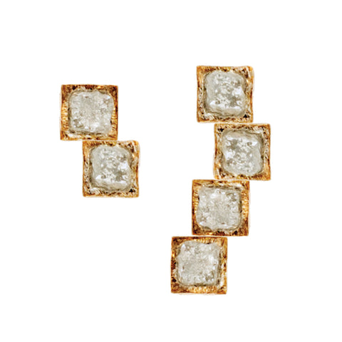 RAW L Diamond 18 K Gold Earrings