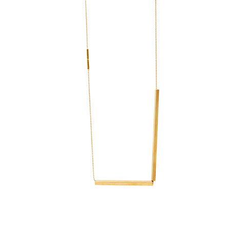 LESS IS MORE 7 + 5 Square Tube Gold Plated Necklace