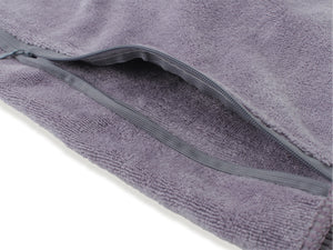 Microfibre Grey Gym Sweat Hand Towel with Zip Pocket - 75 x 35cm