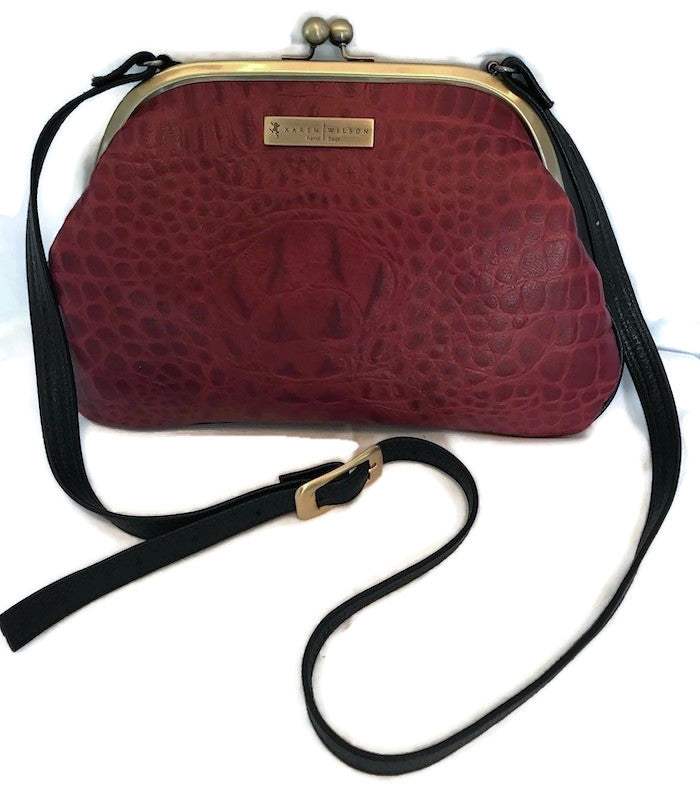 4057G Flat-Red Croco Crossbody