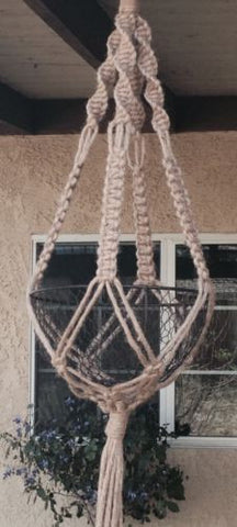 Hand Made Macrame Plant Hanger  NO Beads
