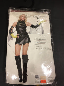 2Pc Phantom Hero Costume With Dress With Attached Mesh Wing, Arm Warme