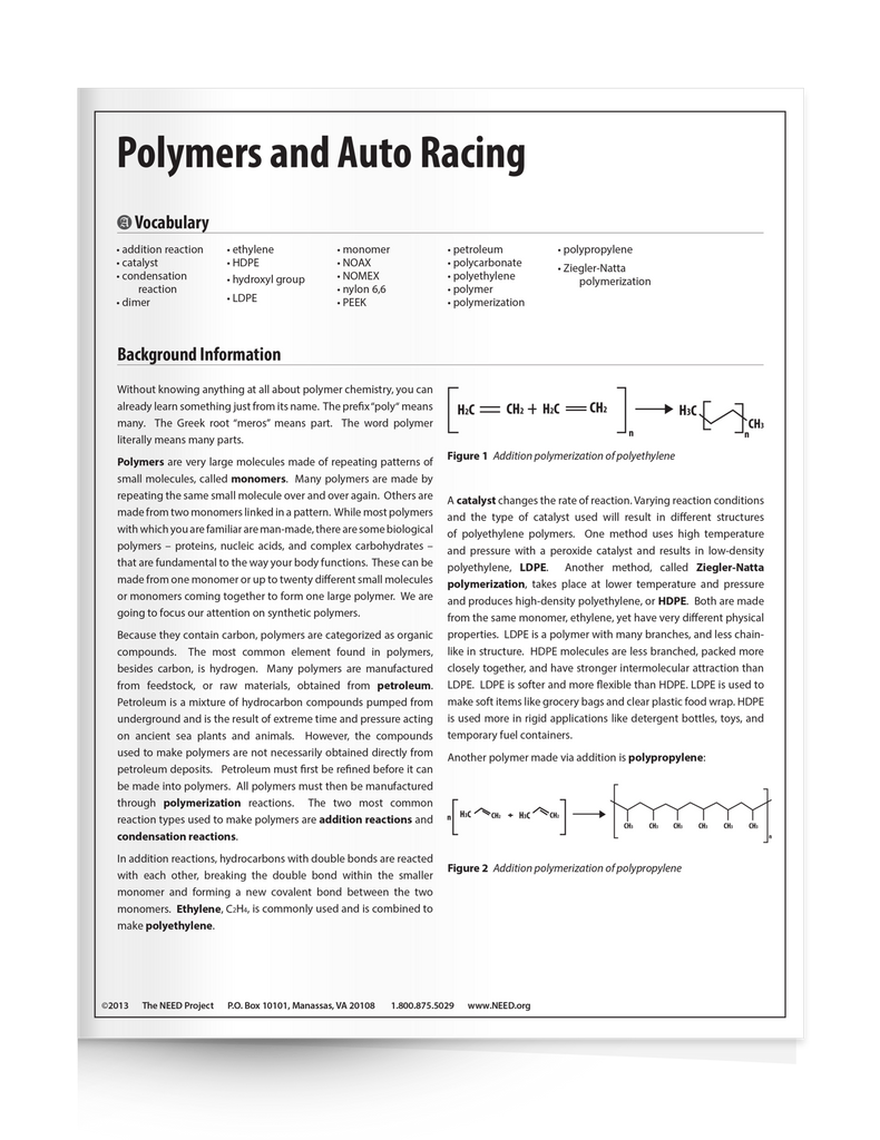 Polymers and Auto Racing (Free PDF Download)