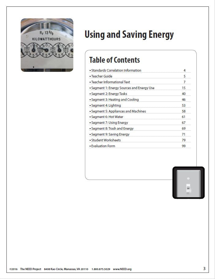 Using and Saving Energy (Free PDF Download) – The NEED Project
