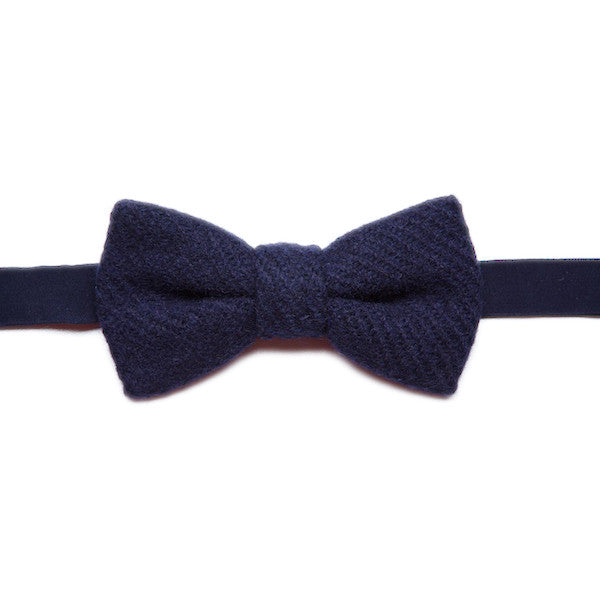 DUNLIN Navy Tweed Bow Tie
