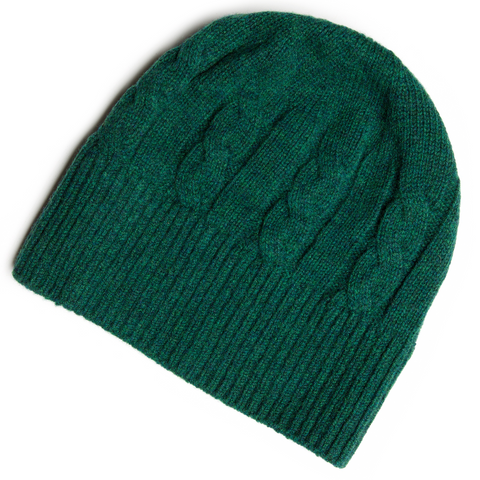 SHEARWATER Unisex Lambswool Cable Knit Beanie Hat - Evergreen