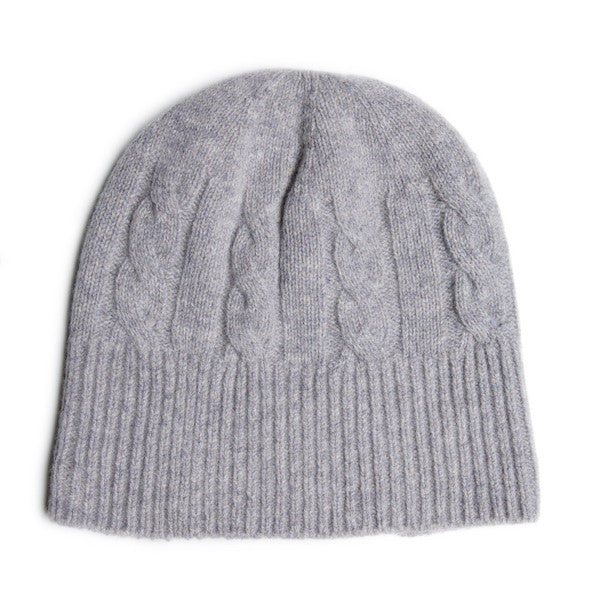 SHEARWATER Unisex Lambswool Cable Knit Beanie Hat - Light Grey