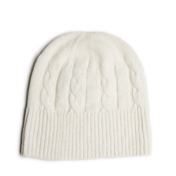 SHEARWATER Lambswool Beanie Hat - White