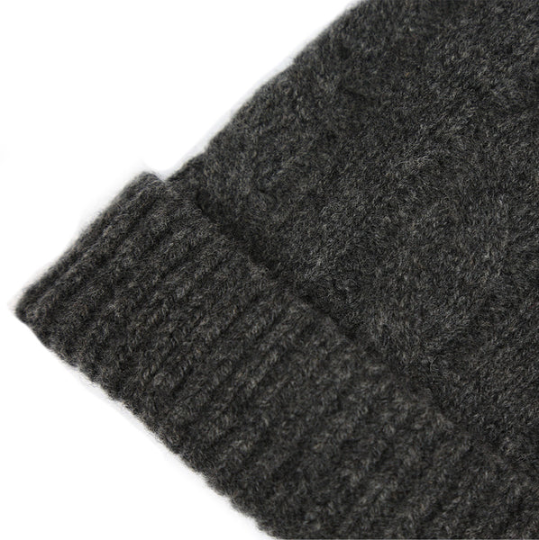 SHEARWATER Unisex Lambswool Cable Knit Beanie Hat - Charcoal Grey
