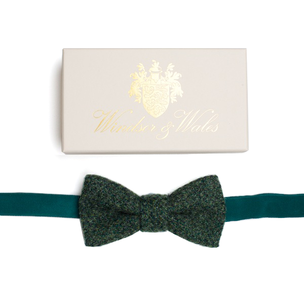 DUNLIN Bottle Green Tweed Bow Tie